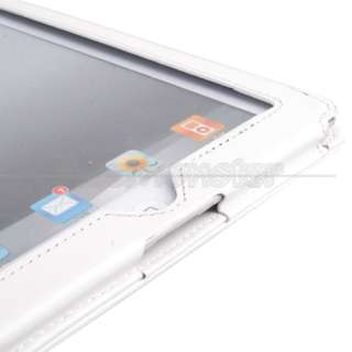 White Leather Case Cover+Stylus pen For Apple iPad 2 US