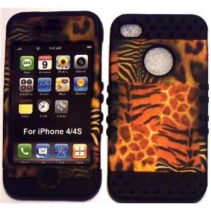 Animal Skin on Black Silicone for Apple iPhone 4 4S Hybrid