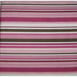 Pink Brown White Stripes Cotton Twin Sheet Set