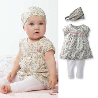 3Pcs Girl Infant Baby Short Top+ Pants+Headband Short Set Costume