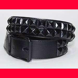 New Goth Punk Black Studded Pyramid Leather Belt M/L