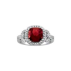 10kt. White Gold, Garnet & Diamond Fashion Ring (Size 6.0) Jewelry