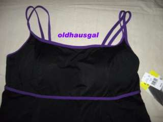 NEW Longitude Purple Trim Black Swimdress Swimsuit SIZE 22W 24W