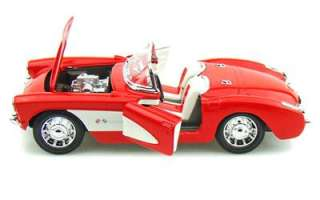 1957 Chevrolet Corvette Convertible Diecast Model Car   124   Red