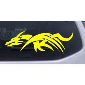 Yellow 34in X 11.9in    Tribal Dragon Car Window Wall Laptop Decal