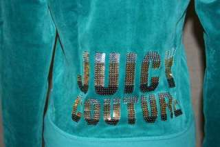 NWT Juicy Couture Sequin Velour Zip Hoodie Frost Bite L
