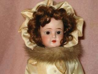 Antique Heubach German Bisque Doll Full Dress Kid Leather Body