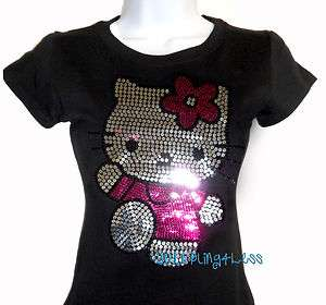 Sequin HELLO KITTY Full Body T Shirt   Pick Your Size S 3XL   Top