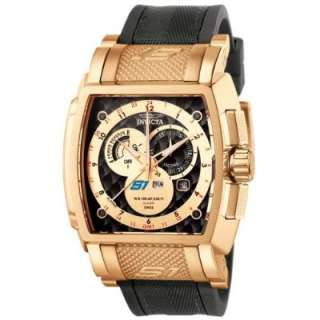 Invicta Mens 6217 S1 Collection GMT 18k Rose Gold Plated Black Rubber