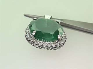 Neimans Genuine 15.50 Carat Natural Emerald & Diamond Pendant 14k