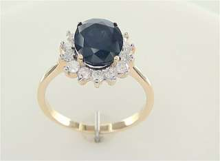 Neimans Genuine 3.75 Carat Natural Blue Sapphire & Diamond Ring Solid