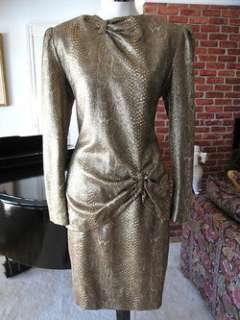 SNAKESKIN METALLIC GOLD LAME HANAE MORI 2 PC DRESS~6