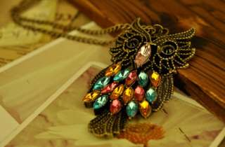 C4876 New Fashion Jewelry Womens Retro Diamond Owl Necklace