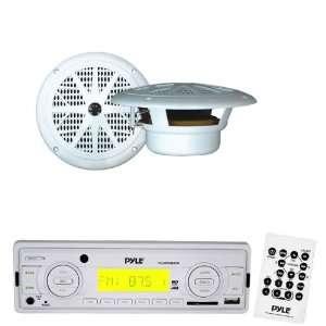 Pyle Marine Radio Receiver and Speaker Package   PLMR89WW