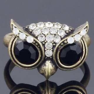 R230B Beautiful Owl Big Smart Eyes Bird Animal Ring Crystal New