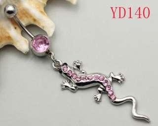 Pink Rhinestone Crystal Lizard Navel Belly Ring YD140