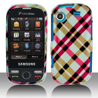 Samsung Messenger Touch R630 Pink Plaid Hard Case Cover