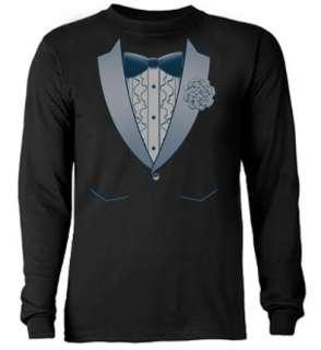 Blue Tux Tuxedo Tee Shirt Wedding Groom Black T shirt