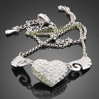 18k white gold GP SWAROVSKI Crystal angel wing necklace N20