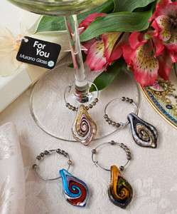 30 Sets of Murano Glass Collection wine charm favors