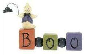 BOO Block with Ghost & Spider Halloween Figurine by Blossom Bucket