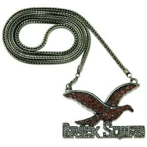 Gucci Mane Brick Squad Iced Out Pendant Necklace Dark Red Dove/Black