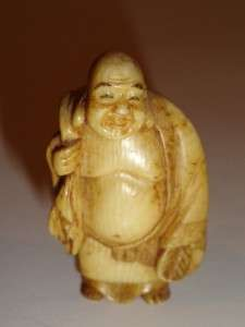 Ox Bone Netsuke Okimono 7 Gods Figure Collection Buddha Shoulao