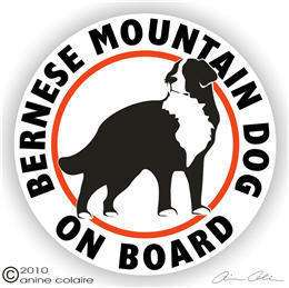 Bernese Mountain Dog On Board Window Decal Sticker 115