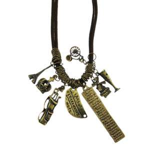 Vintage style LONG necklace eiffel tower moulin rouge French Charm