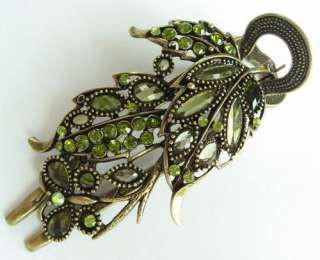 VARY COLORS SWAROVSKI CRYSTAL BIG BRONZE LEAF BUTTERFLY HAIR BARRETTE
