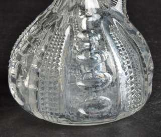 Vintage HEISEY GLASS 6 Tall Cruet with Stopper Punty Diamond Point