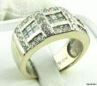 14ctw Genuine Diamond Cocktail Band   18k Solid White Gold Womens