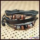 Mens Hemp Surfer Tribal Multi Strand Leather Bracelet Reggae Marley