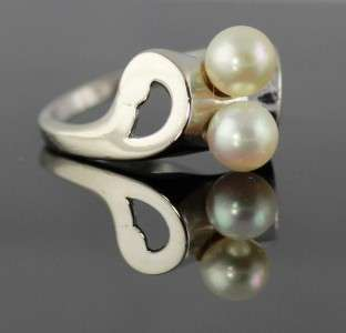 VINTAGE 14K WHITE GOLD AND PEARL RING 4.2 GRAMS SIZE 7/1/4
