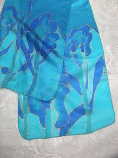 Emanuel Hand Painted Silk Scarf Accessory Blue