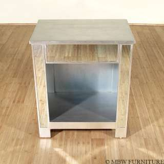 Distressed SILVER MIRRORED 1 Drawer NIGHTSTAND Side Table mbe001as