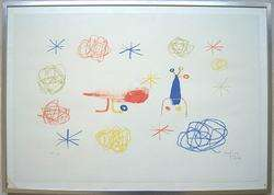 JOAN MIRO Signed 1950 Color Lithograph The Red Bird I