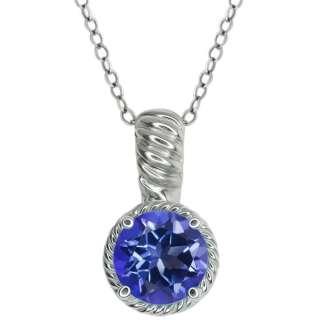 40 Ct Round Tanzanite Blue Mystic Topaz Sterling Silver Pendant