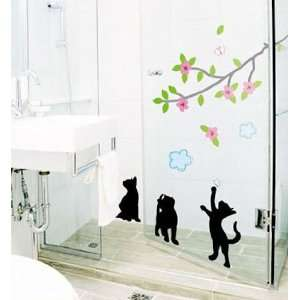 Modern House Cats Playing with Tree Branch removable Vinyl