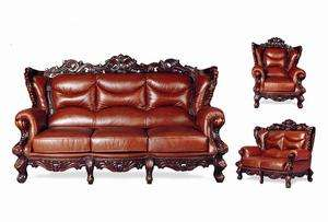 LEATHER FRENCH PROVINCIAL LIVING ROOM FURNITURE
