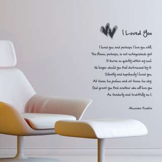 Removable Lettering Wall Art Decal Sticker I Love You