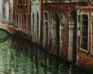 Oil Painting Venice River Boats Art on Canvas V7