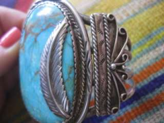 VTG Pawn Signed Navajo MASSIVE Turquoise Sterling Silver 98 Grams