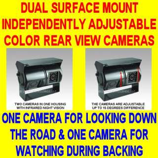 VIEW BACKUP CAMERA COLOR CCD NIGHT VISION DOUBLE TWO TWIN SAFETY BLACK