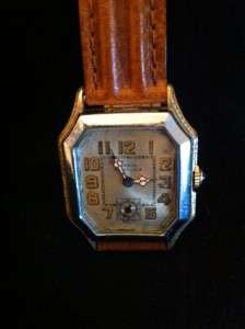 Vintage 1920s MASIN SHOCKLESS 2 Tone Deco Mens Watch   BULOVA