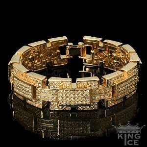 Yellow Gold Plated Iced Out Rectangle Hip Hop Bracelet Jewelry