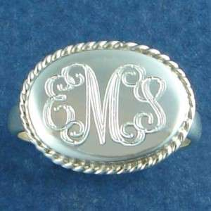 Monogram Name Initial Personalized Sterling Silver Ring
