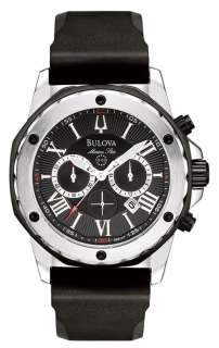 Bulova Marine Star Chronograph Stainless Steel Rubber Mens Watch