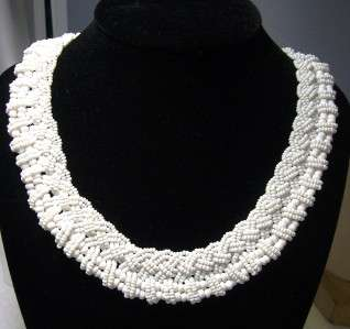 Antique Intricate Milk Glass Seed Bead Braided Collar Necklace 18 x 3