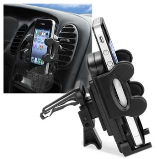 Car Vent Mount Stand+Black Charger Accessory Kit For Apple iPhone 4 4G